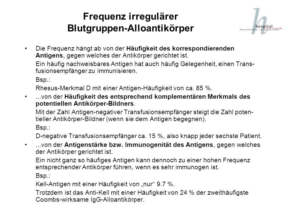 Frequenz irregulärer Blutgruppen-Alloantikörper