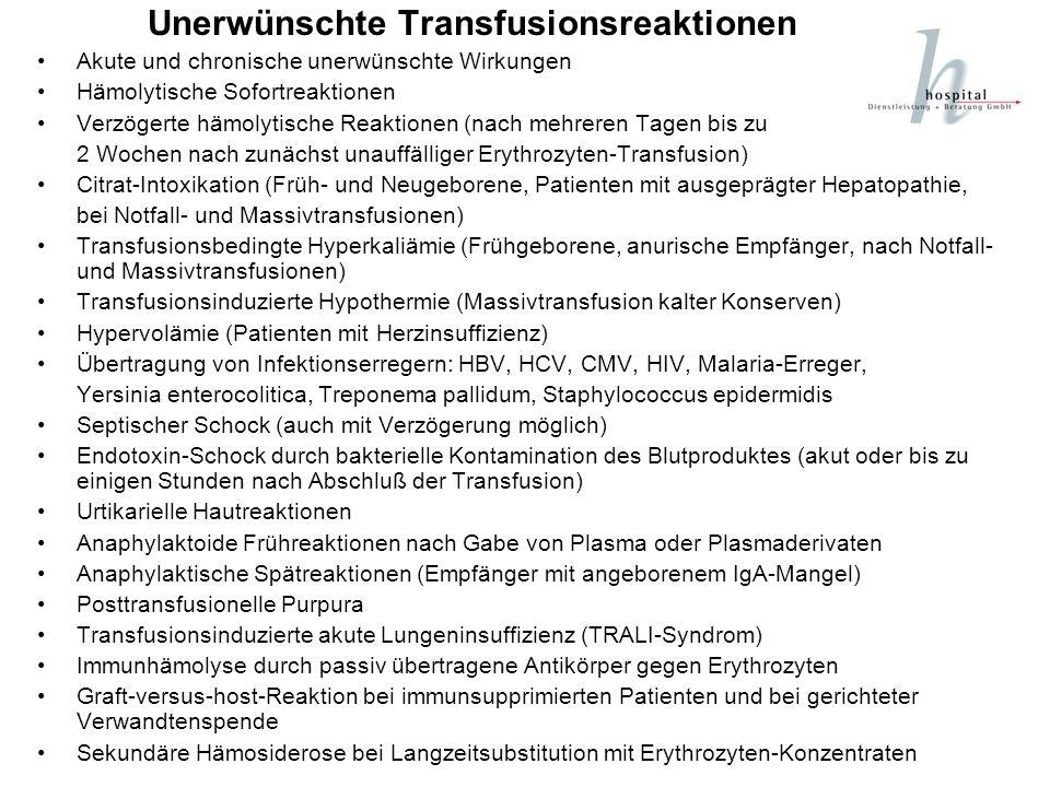 Unerwünschte Transfusionsreaktionen