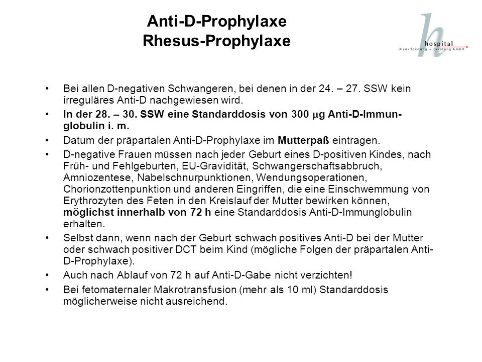 Anti-D-Prophylaxe Rhesus-Prophylaxe
