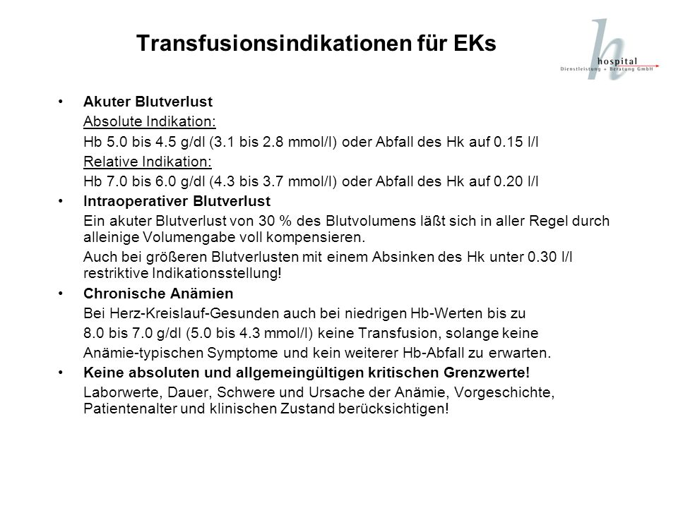 Transfusionsindikationen für EKs