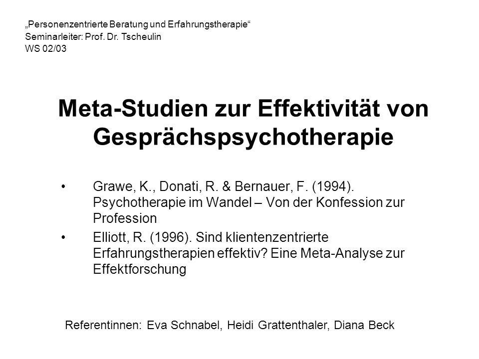 Meta-Studien zur Effektivität von Gesprächspsychotherapie