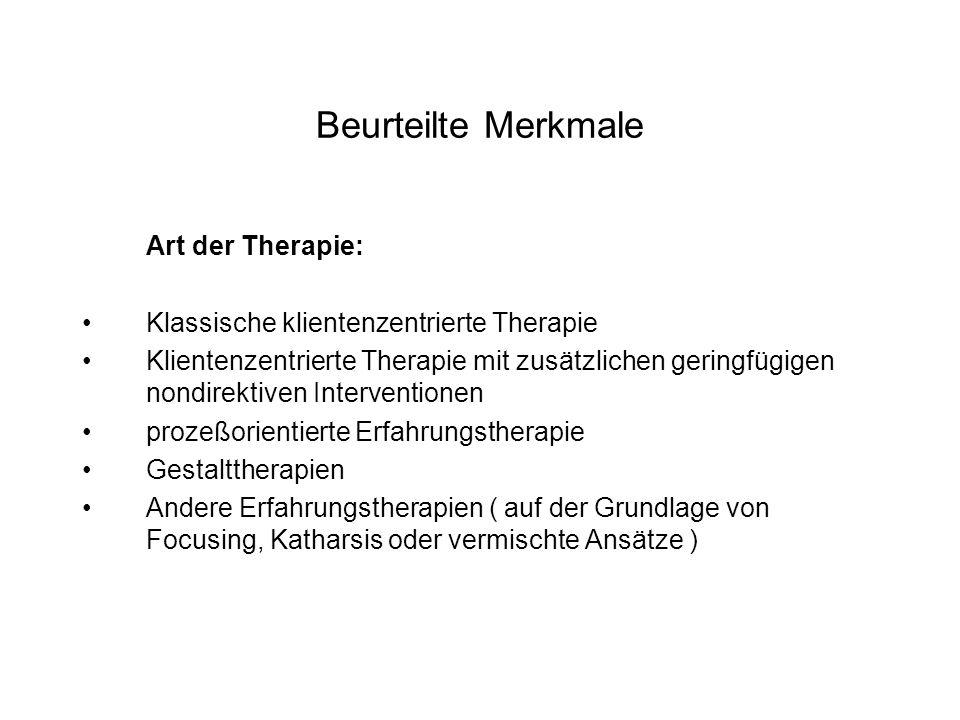Beurteilte Merkmale Art der Therapie: