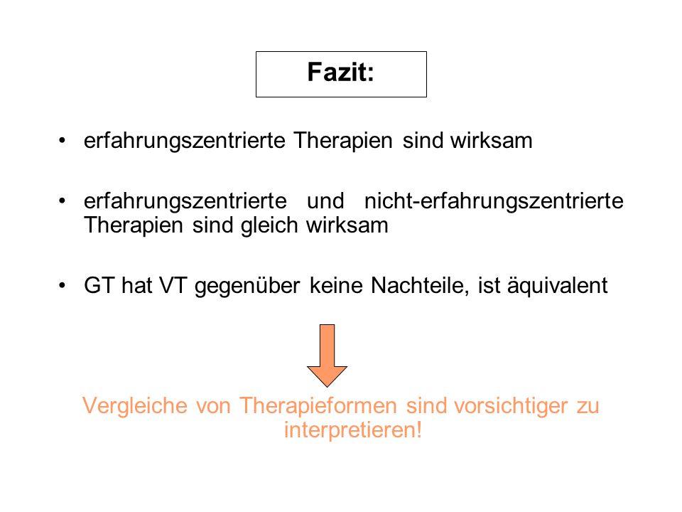 Vergleiche von Therapieformen sind vorsichtiger zu interpretieren!