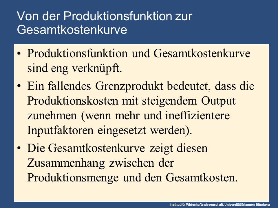 Von der Produktionsfunktion zur Gesamtkostenkurve
