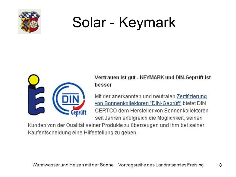 Solar - Keymark Warmwasser und Heizen mit der Sonne Vortragsreihe des Landratsamtes Freising