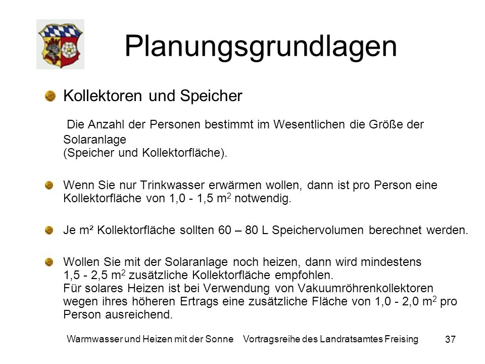 Planungsgrundlagen Kollektoren und Speicher.