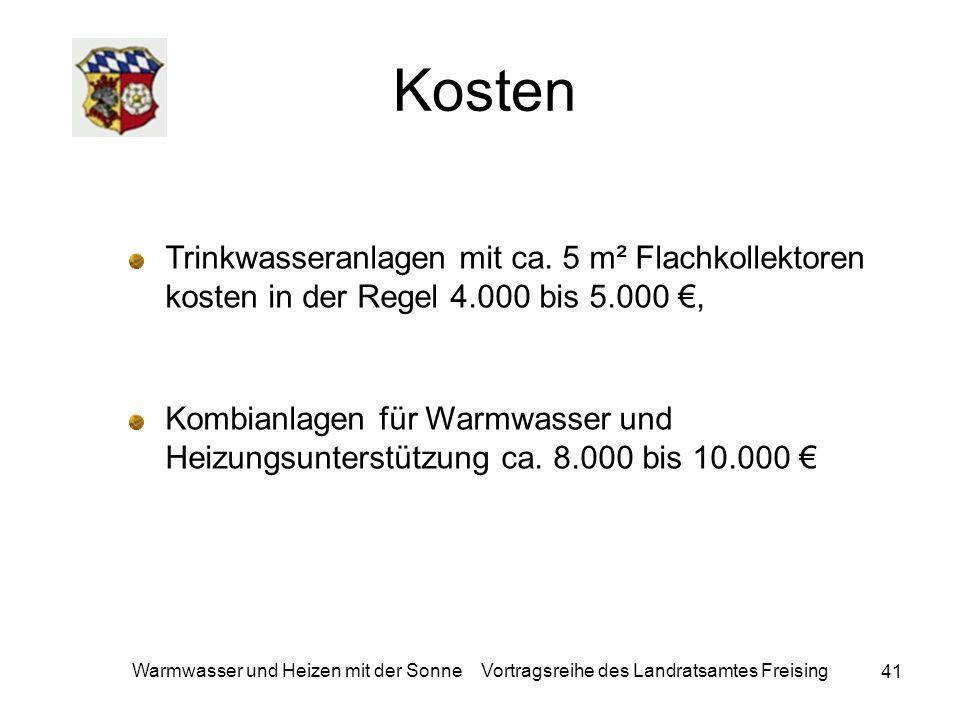 Kosten Trinkwasseranlagen mit ca. 5 m² Flachkollektoren kosten in der Regel 4.000 bis 5.000 €,
