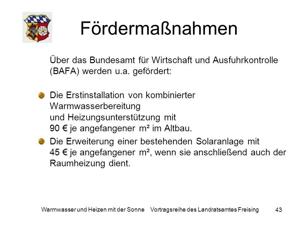 Fördermaßnahmen Über das Bundesamt für Wirtschaft und Ausfuhrkontrolle (BAFA) werden u.a. gefördert: