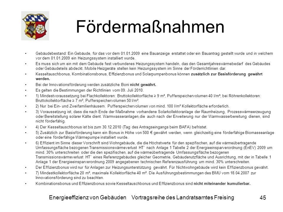 Energieeffizienz von Gebäuden Vortragsreihe des Landratsamtes Freising