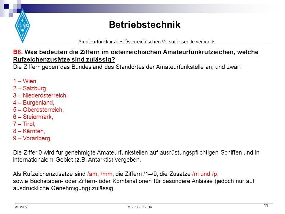 B8. Was bedeuten die Ziffern im österreichischen Amateurfunkrufzeichen, welche Rufzeichenzusätze sind zulässig