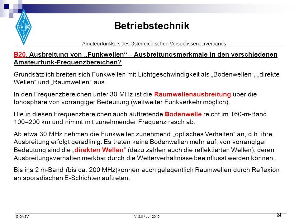 """B20. Ausbreitung von """"Funkwellen – Ausbreitungsmerkmale in den verschiedenen Amateurfunk-Frequenzbereichen"""