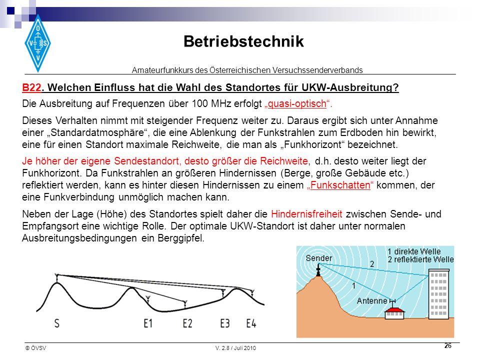 B22. Welchen Einfluss hat die Wahl des Standortes für UKW-Ausbreitung