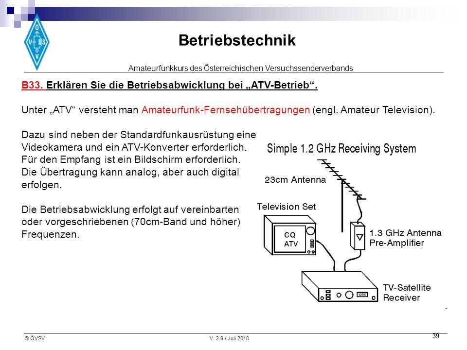 """B33. Erklären Sie die Betriebsabwicklung bei """"ATV-Betrieb ."""