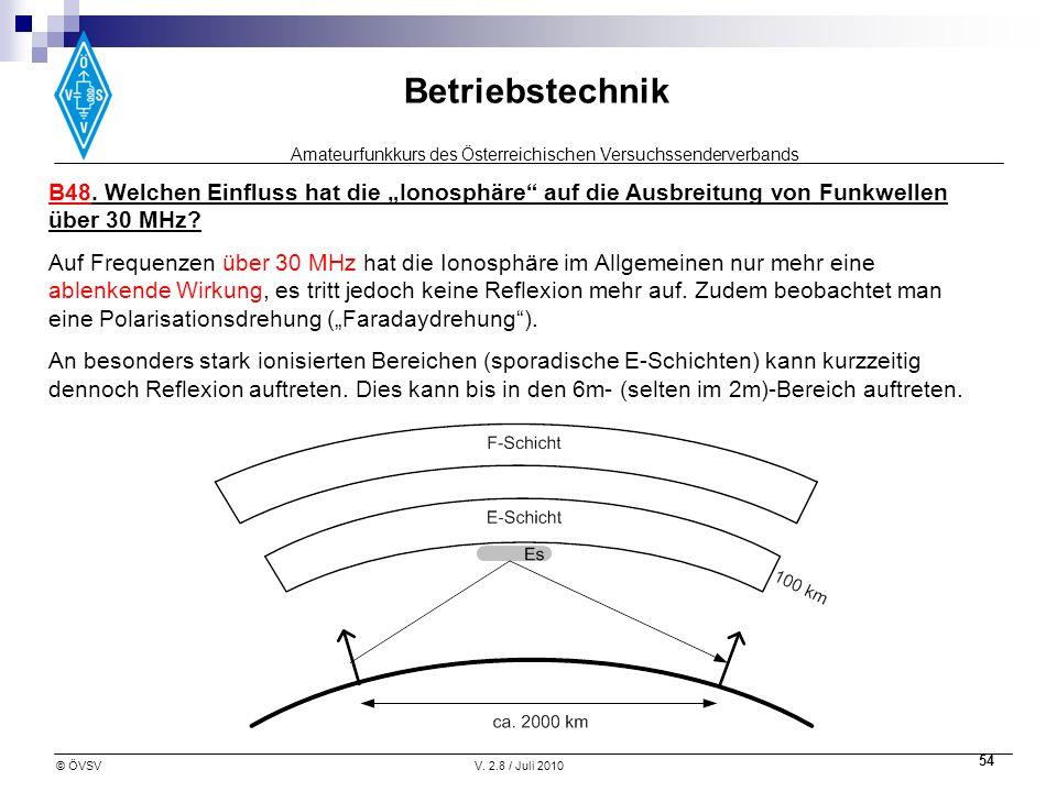 """B48. Welchen Einfluss hat die """"Ionosphäre auf die Ausbreitung von Funkwellen über 30 MHz"""