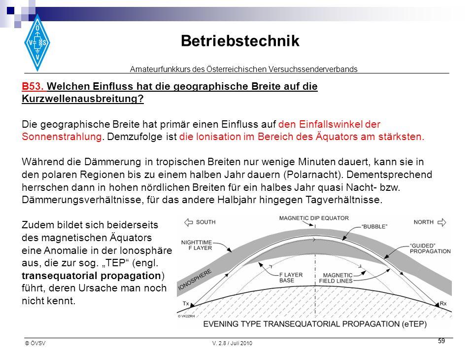 B53. Welchen Einfluss hat die geographische Breite auf die Kurzwellenausbreitung