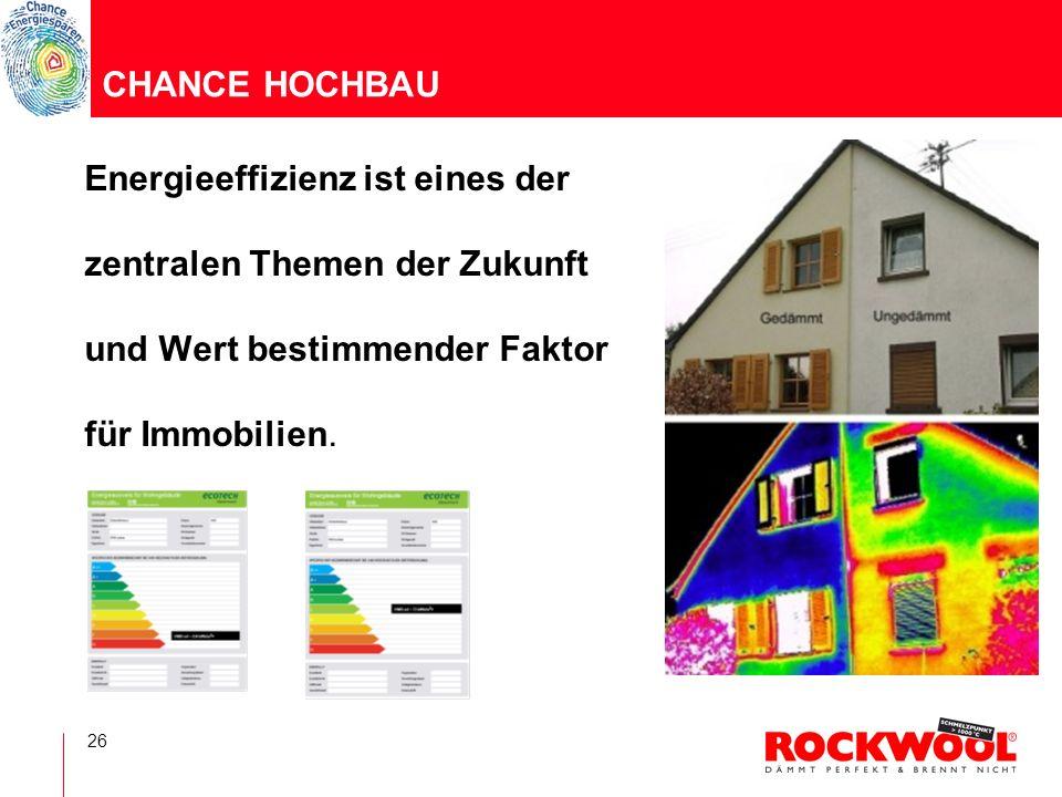 CHANCE HOCHBAU Energieeffizienz ist eines der. zentralen Themen der Zukunft. und Wert bestimmender Faktor.