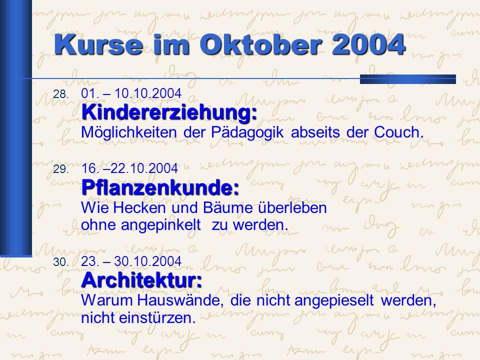 Kurse im Oktober 2004 01. – 10.10.2004 Kindererziehung: Möglichkeiten der Pädagogik abseits der Couch.