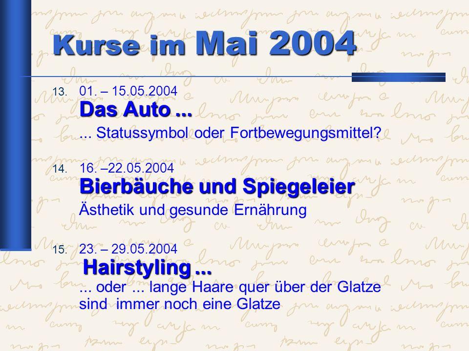 Kurse im Mai 2004 ... Statussymbol oder Fortbewegungsmittel