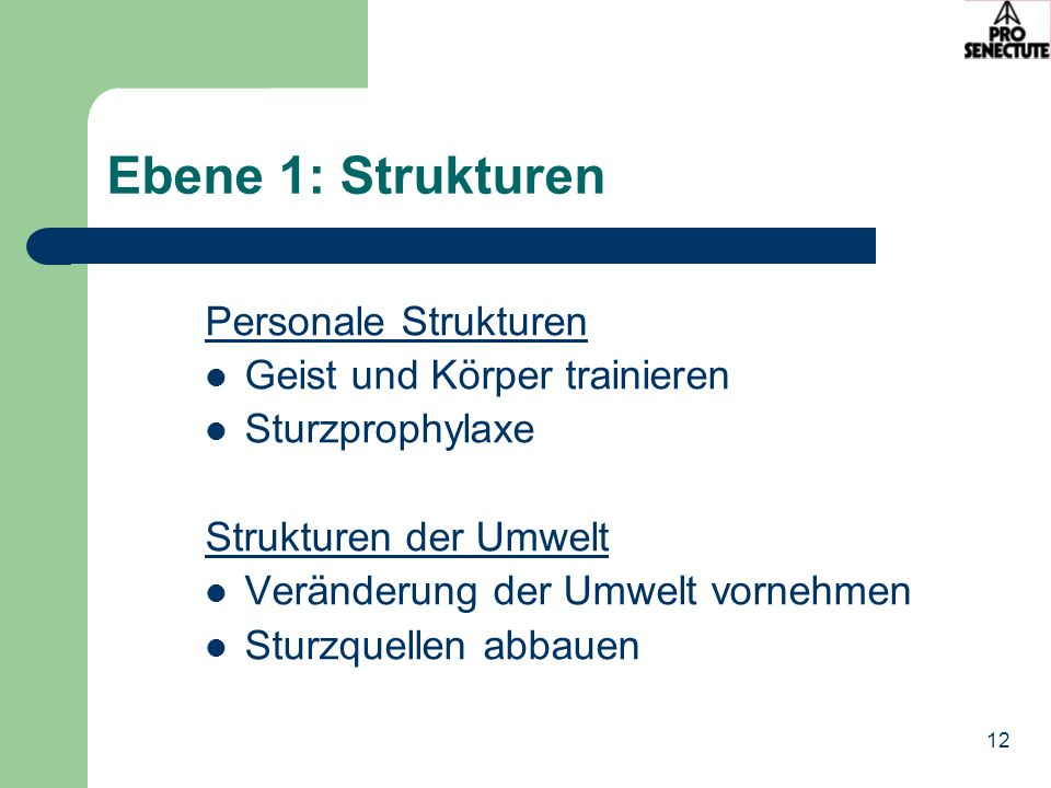 Ebene 1: Strukturen Personale Strukturen Geist und Körper trainieren