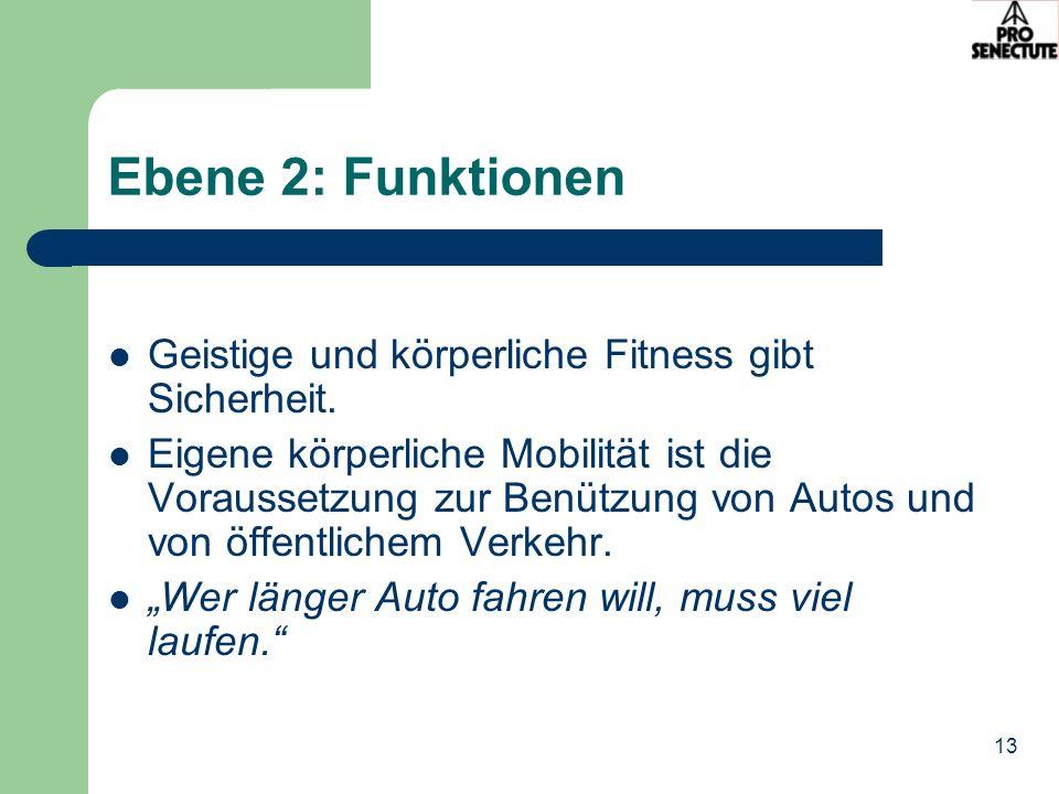 Ebene 2: Funktionen Geistige und körperliche Fitness gibt Sicherheit.