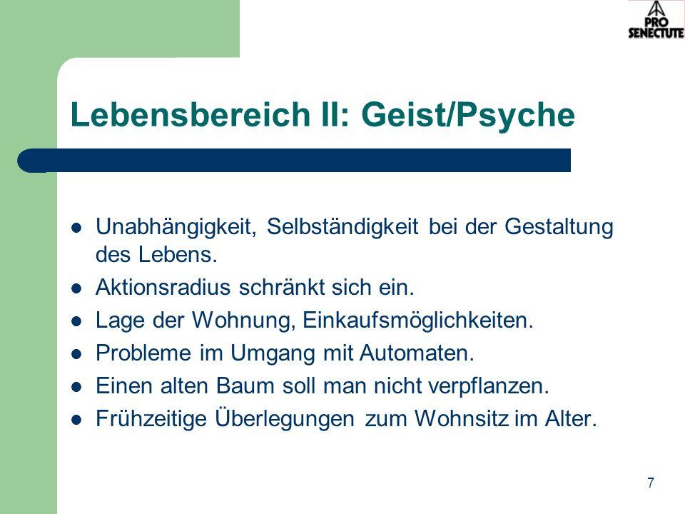 Lebensbereich II: Geist/Psyche