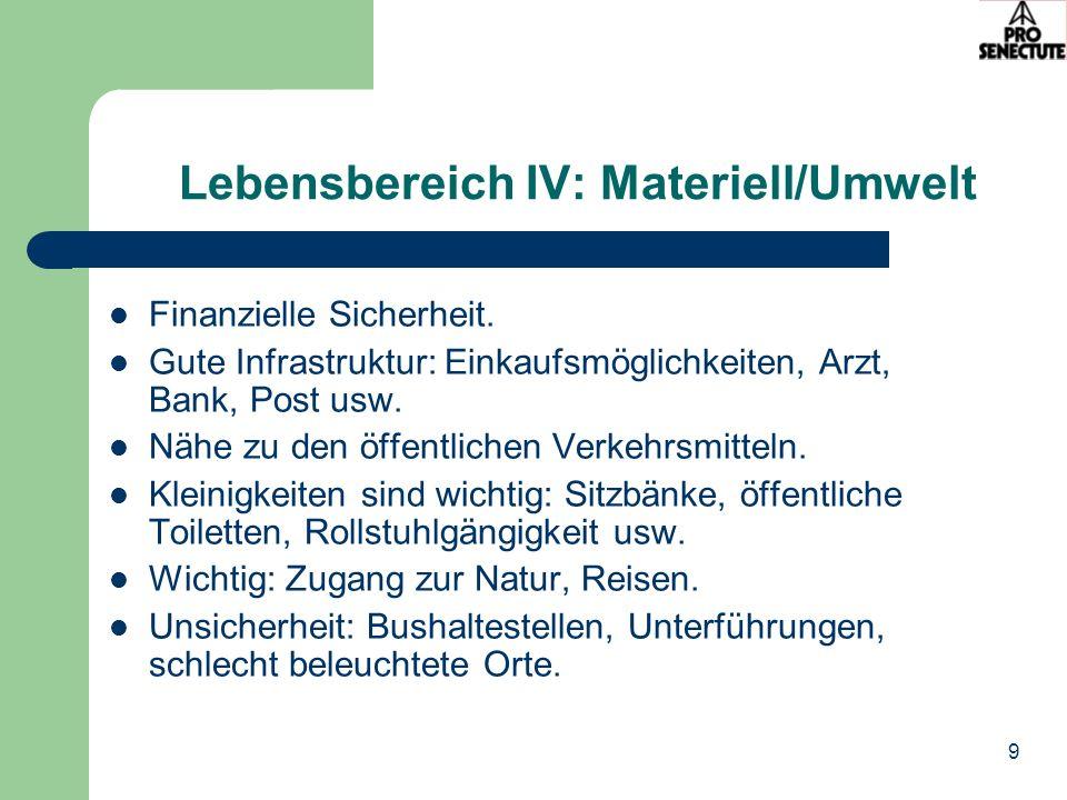 Lebensbereich IV: Materiell/Umwelt