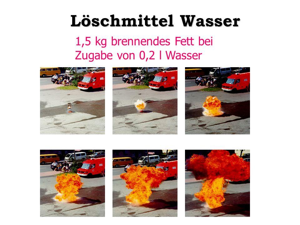 Löschmittel Wasser 1,5 kg brennendes Fett bei Zugabe von 0,2 l Wasser