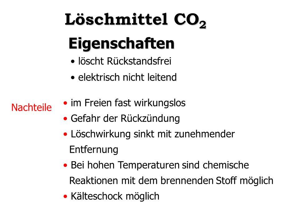 Löschmittel CO2 Eigenschaften löscht Rückstandsfrei