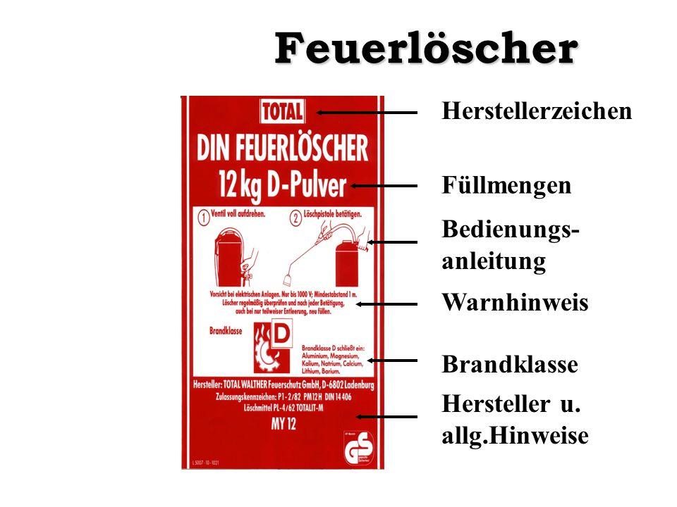 Feuerlöscher Herstellerzeichen Füllmengen Bedienungs-anleitung