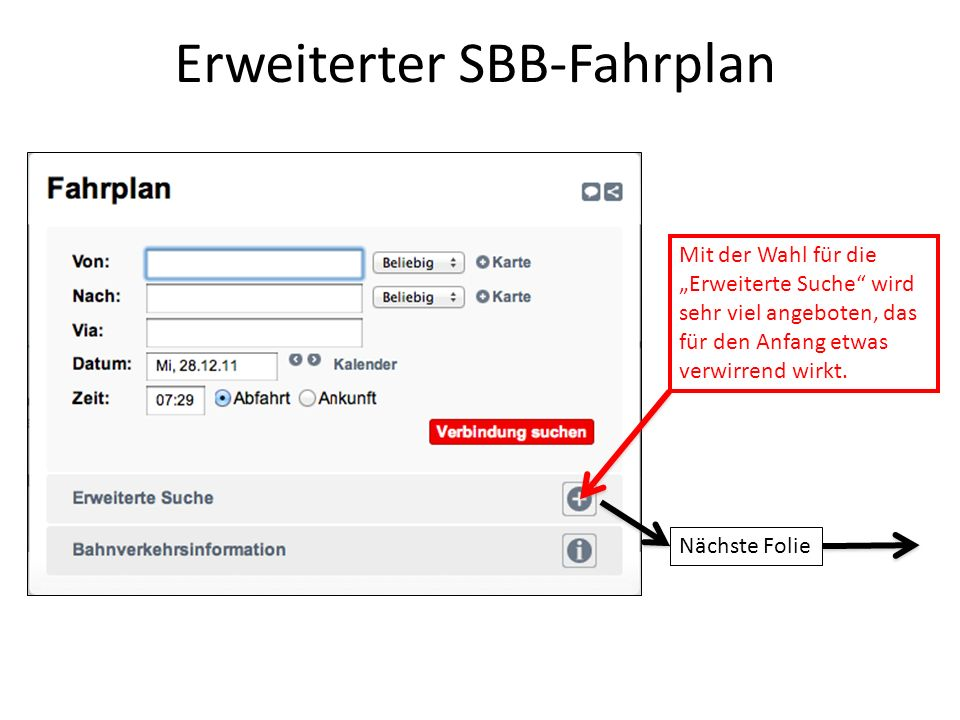 Erweiterter SBB-Fahrplan