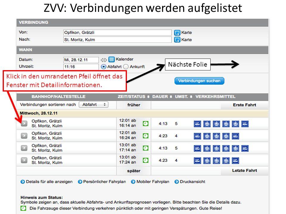 ZVV: Verbindungen werden aufgelistet