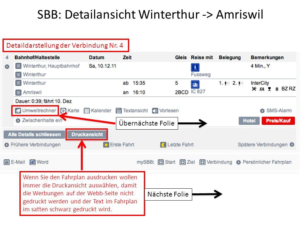 SBB: Detailansicht Winterthur -> Amriswil