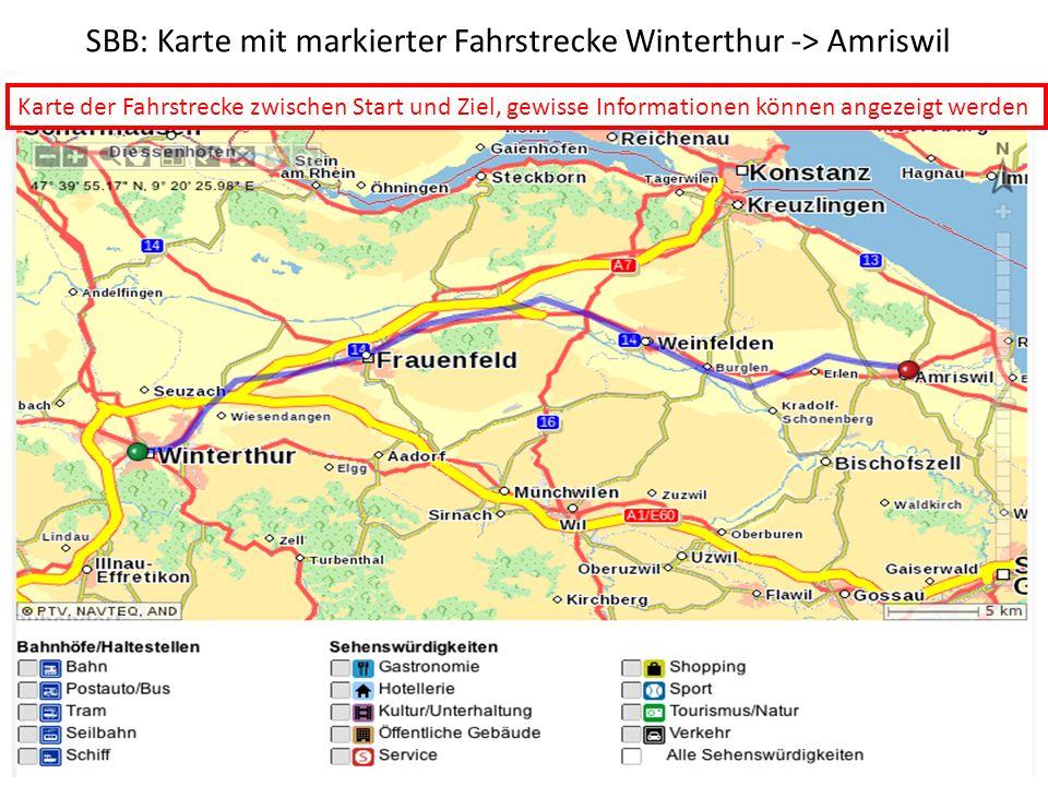 SBB: Karte mit markierter Fahrstrecke Winterthur -> Amriswil