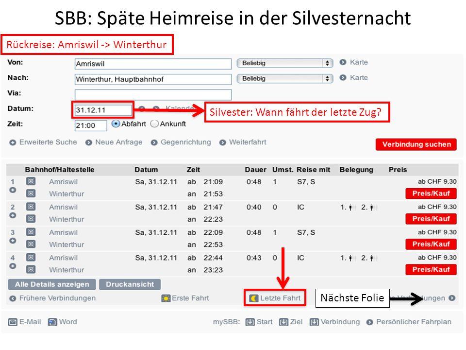 SBB: Späte Heimreise in der Silvesternacht