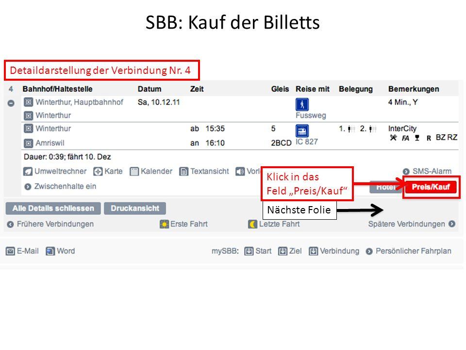 SBB: Kauf der Billetts Detaildarstellung der Verbindung Nr. 4