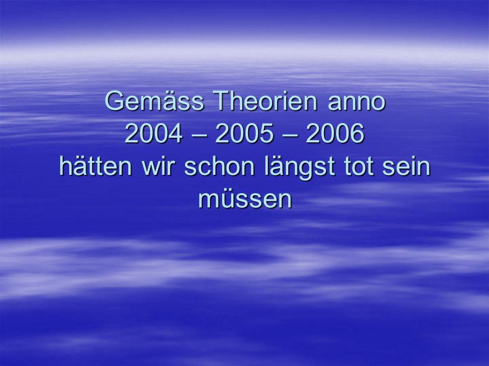 Gemäss Theorien anno 2004 – 2005 – 2006 hätten wir schon längst tot sein müssen