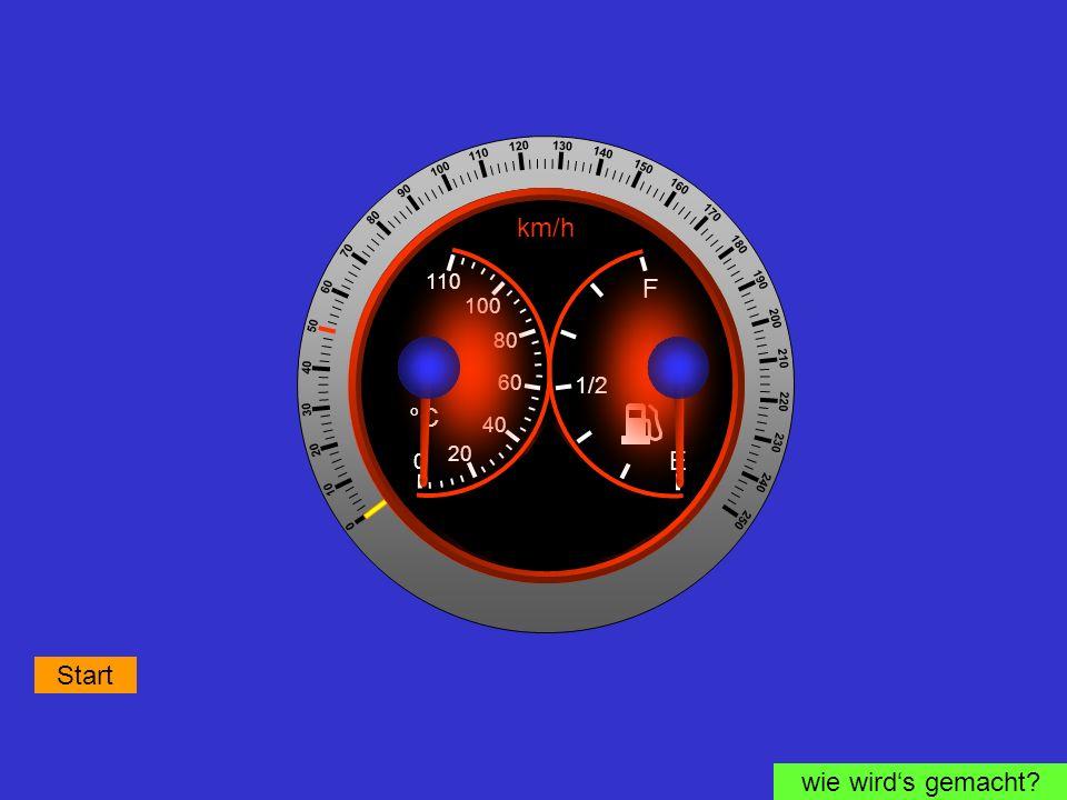 ! km/h F °C E Start wie wird's gemacht 1/2 110 100 80 60 40 20 + -