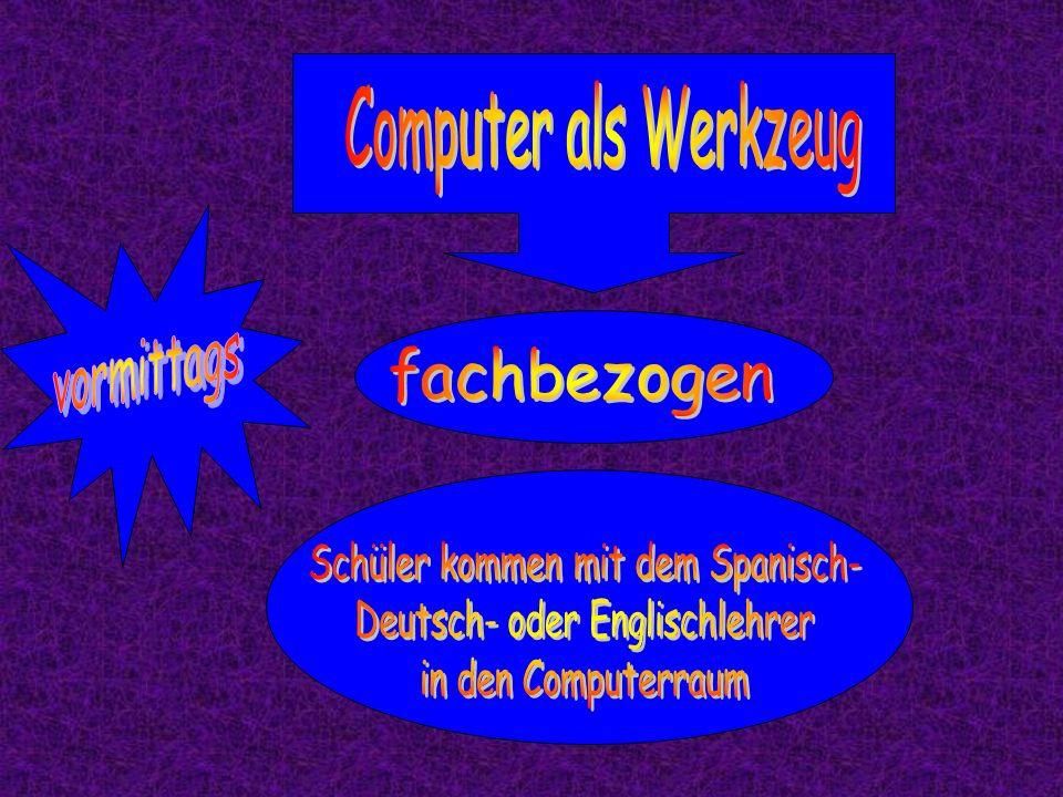 Schüler kommen mit dem Spanisch- Deutsch- oder Englischlehrer