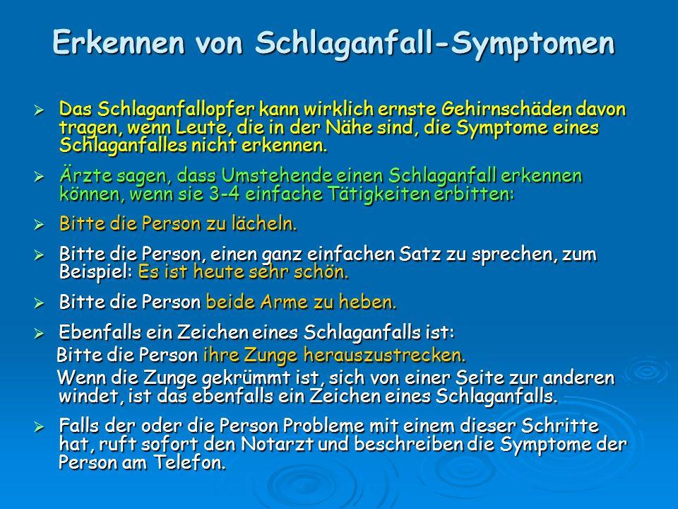 Erkennen von Schlaganfall-Symptomen