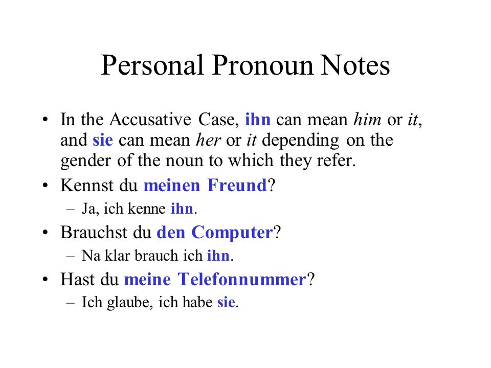 Personal Pronoun Notes