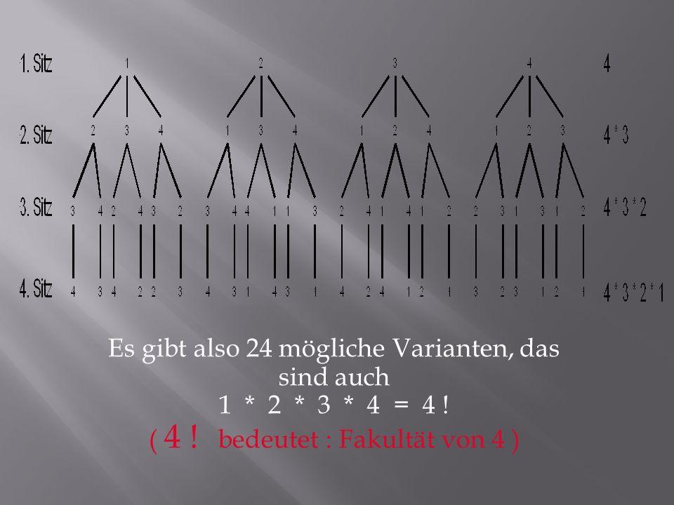 Es gibt also 24 mögliche Varianten, das sind auch 1. 2. 3. 4 = 4. ( 4
