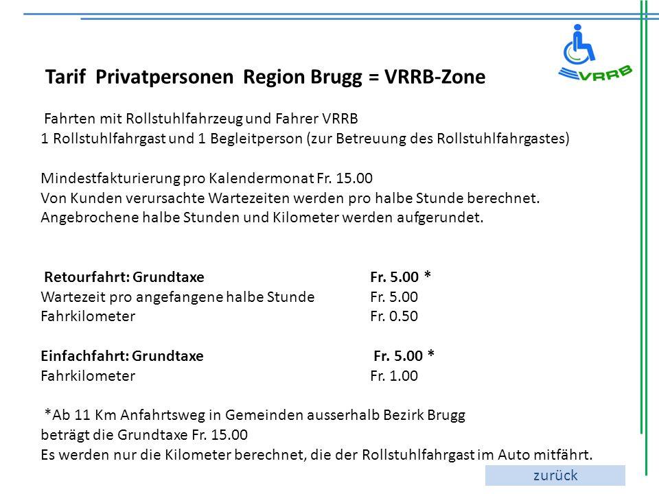 Tarif Privatpersonen Region Brugg = VRRB-Zone