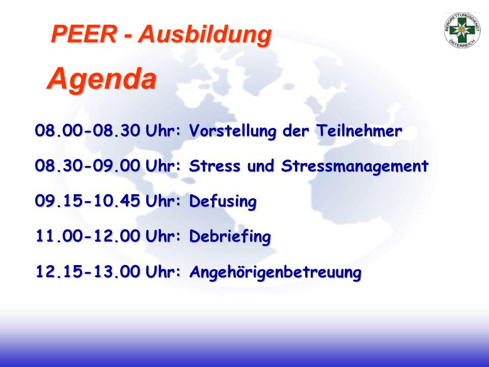 Agenda PEER - Ausbildung 08.00-08.30 Uhr: Vorstellung der Teilnehmer