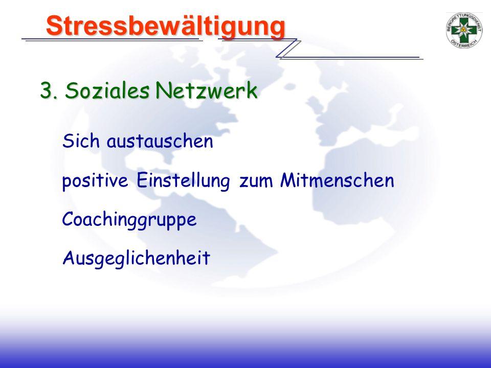 Stressbewältigung 3. Soziales Netzwerk Sich austauschen