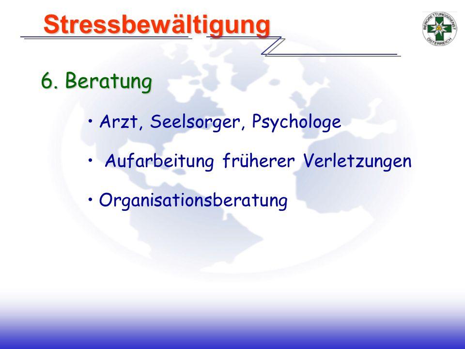 Stressbewältigung 6. Beratung Arzt, Seelsorger, Psychologe