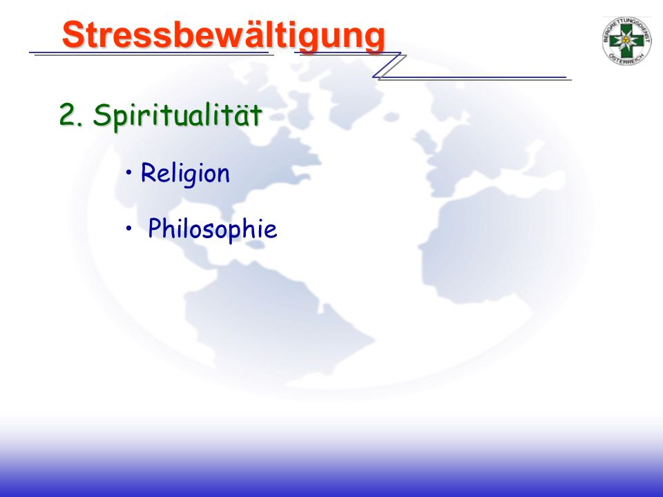 Stressbewältigung 2. Spiritualität Religion Philosophie Handout