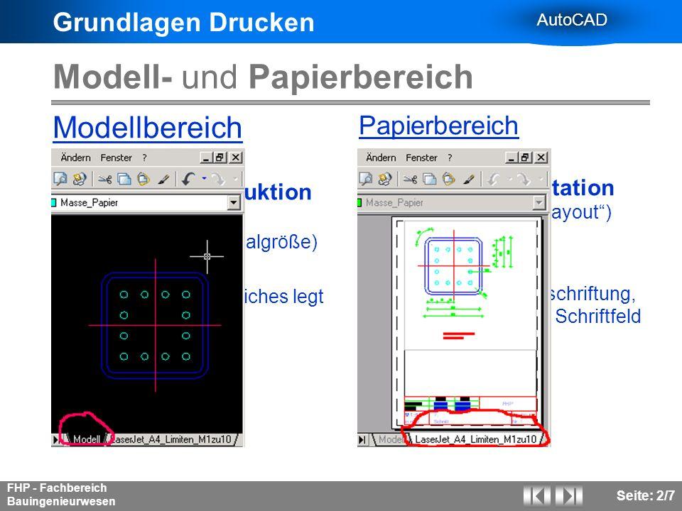 Modell- und Papierbereich