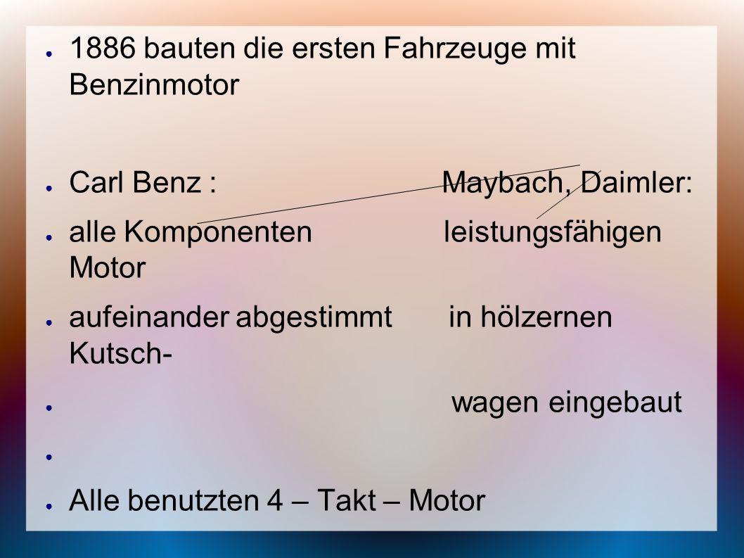 1886 bauten die ersten Fahrzeuge mit Benzinmotor