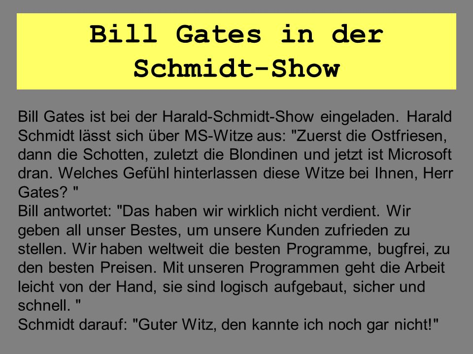 Bill Gates in der Schmidt-Show