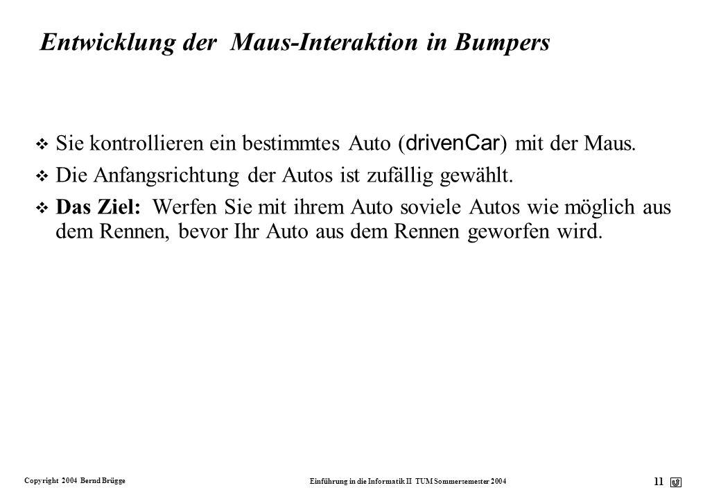 Entwicklung der Maus-Interaktion in Bumpers